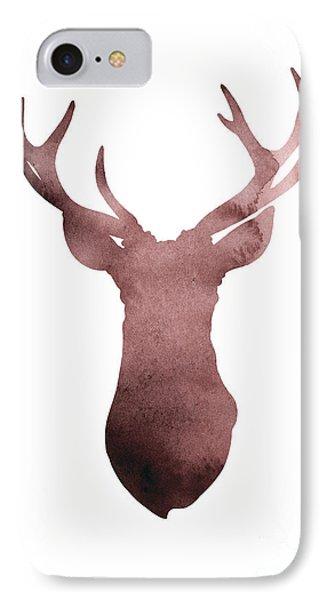 Deer Antlers Silhouette Minimalist Painting IPhone Case by Joanna Szmerdt