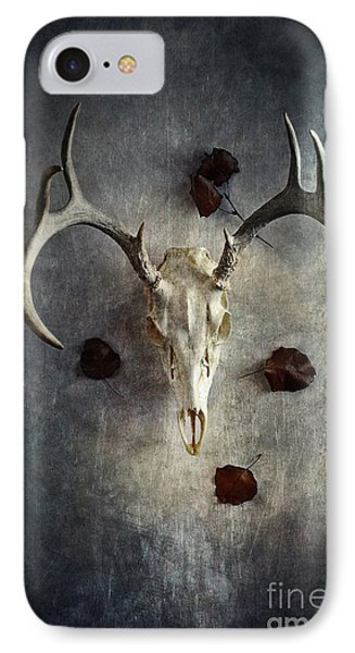 IPhone Case featuring the photograph Deer Buck Skull With Fallen Leaves by Stephanie Frey