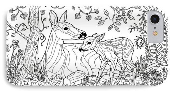 Deer Fantasy Forest Coloring Page IPhone Case