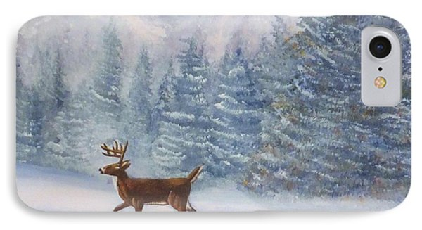 Deer In The Snow IPhone Case by Denise Fulmer