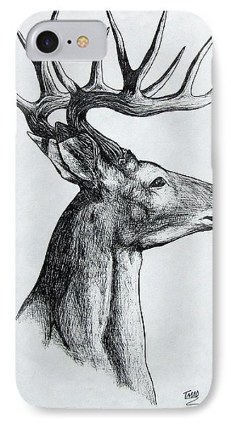IPhone Case featuring the drawing Deer by Michael  TMAD Finney