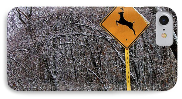 Deer Running In The Forest IPhone Case by Robert Frank Gabriel
