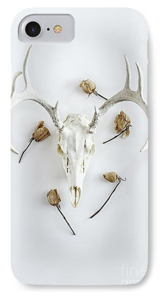 IPhone Case featuring the photograph Deer Skull With Antlers And Roses by Stephanie Frey