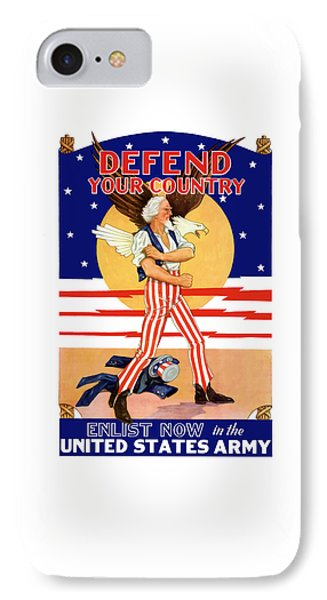 Defend Your Country Enlist Now  IPhone Case by War Is Hell Store