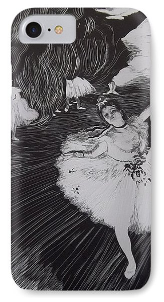 Degas' L'etoile In Scratchboard IPhone Case by Becky Chappell