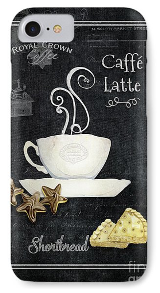 IPhone Case featuring the painting Deja Brew Chalkboard Coffee 2 Caffe Latte Shortbread Chocolate Cookies by Audrey Jeanne Roberts