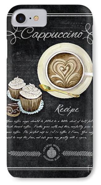 IPhone Case featuring the painting Deja Brew Chalkboard Coffee 3 Cappuccino Cupcakes Chocolate Recipe  by Audrey Jeanne Roberts