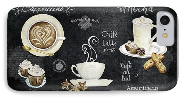 IPhone Case featuring the painting Deja Brew Chalkboard Coffee Cappuccino Mocha Caffe Latte by Audrey Jeanne Roberts