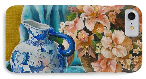 IPhone Case featuring the painting Delft Pitcher With Flowers by Marlene Book