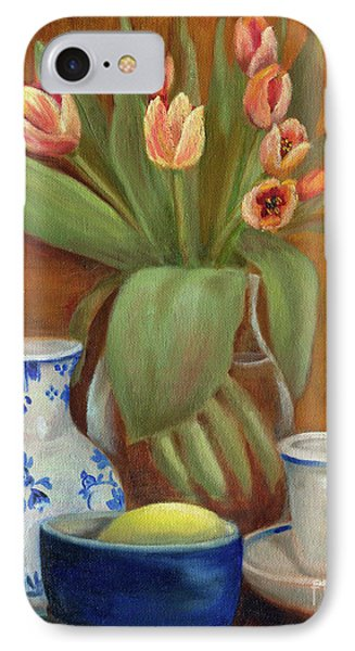 IPhone Case featuring the painting Delft Vase And Mini Tulips by Marlene Book