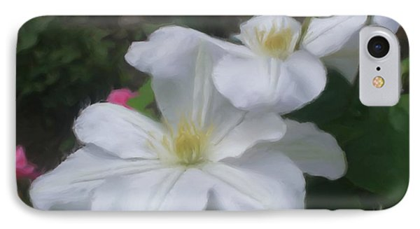 IPhone Case featuring the painting Delicate White Clematis Pair by Smilin Eyes  Treasures