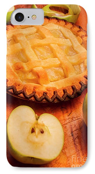 Delicious Apple Pie With Fresh Apples On Table IPhone Case