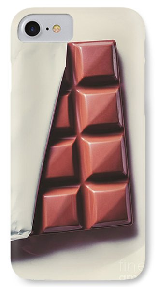 Delicious Chocolate Bar In Wrapping On Plate IPhone Case by Jorgo Photography - Wall Art Gallery