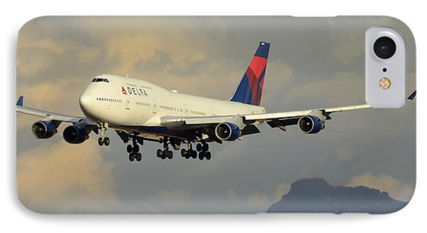 Delta Boeing 747-451 N668us Phoenix Sky Harbor January 8 2015 Phone Case by Brian Lockett