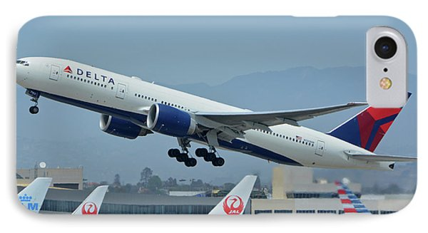 IPhone Case featuring the photograph Delta Boeing 777-232lr N703dn Los Angeles International Airport May 3 2016 by Brian Lockett