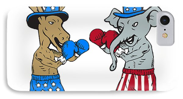Democrat Donkey Boxer And Republican Elephant Mascot Cartoon IPhone Case