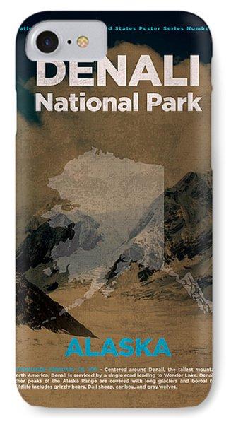 Denali National Park In Alaska Travel Poster Series Of National Parks Number 14 IPhone Case by Design Turnpike