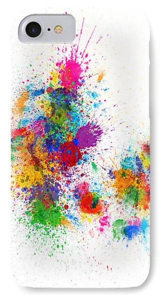 Denmark Map Paint Splashes IPhone Case by Michael Tompsett