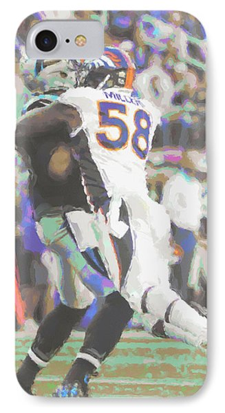 Denver Broncos Von Miller IPhone Case by Joe Hamilton