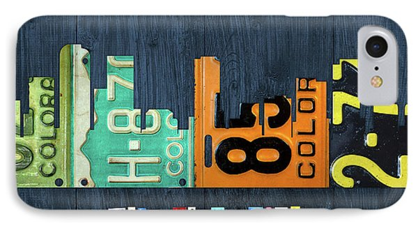 Denver Colorado Recycled Vintage License Plate Art City Skyline IPhone Case by Design Turnpike