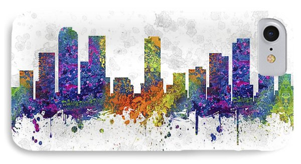Denver Colorado Skyline Color 03sq IPhone Case by Aged Pixel