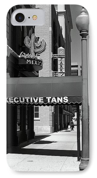 Denver Downtown Storefront Bw IPhone Case by Frank Romeo