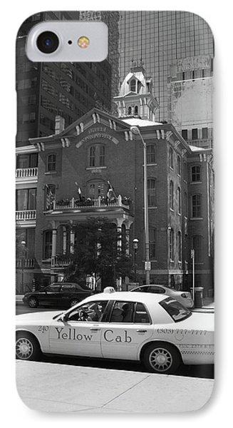 Denver Downtown With Yellow Cab Bw IPhone Case by Frank Romeo