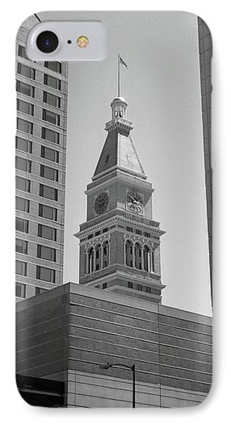 Denver - Historic D And F Clocktower 2 Bw IPhone Case by Frank Romeo