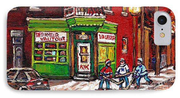 Depanneur Vautour Winter Night Hockey Game Near Glowing Street Lights St Henri Painting Montreal Art IPhone Case by Carole Spandau
