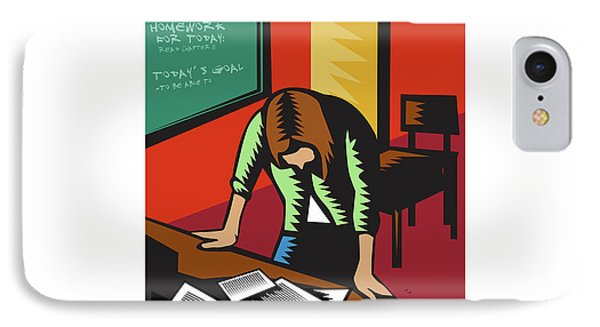 Depressed Female School Teacher Classroom Woodcut IPhone Case