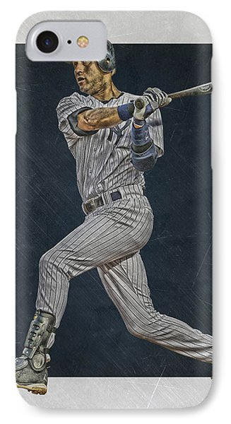 Derek Jeter New York Yankees Art 2 IPhone Case by Joe Hamilton