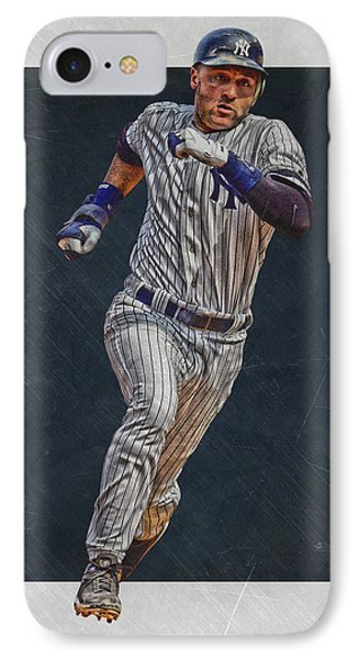 Derek Jeter New York Yankees Art 3 IPhone 7 Case by Joe Hamilton