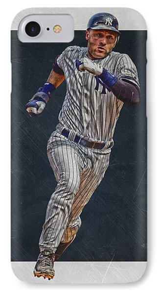 Derek Jeter New York Yankees Art 3 IPhone Case by Joe Hamilton