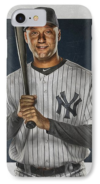 Derek Jeter New York Yankees Art IPhone 7 Case by Joe Hamilton