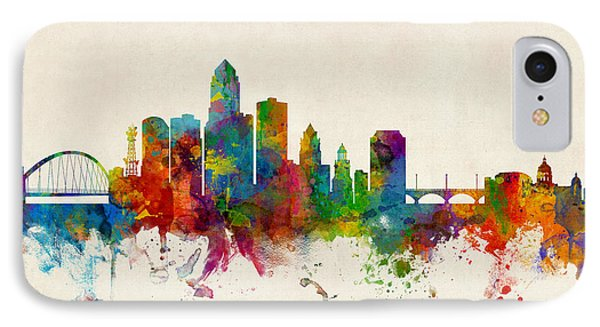 Des Moines Iowa Skyline IPhone Case by Michael Tompsett
