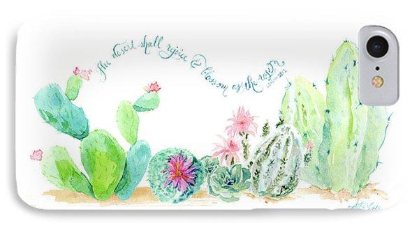 Desert In Bloom 2, Watercolor Desert Cacti N Succulents Inspirational Verse IPhone Case
