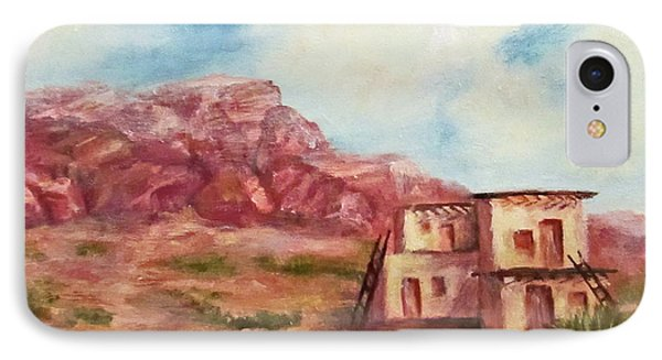 IPhone Case featuring the painting Desert Pueblo by Roseann Gilmore