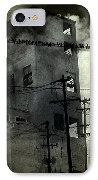 Birds On Wires In Front Of A Tall Deserted Building  IPhone Case by Gothicrow Images