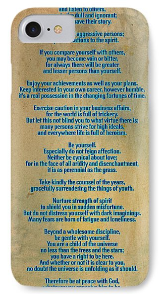 Desiderata IPhone Case by Celestial Images