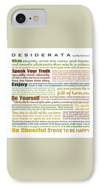 Desiderata - Earthtones - Square Format IPhone Case by Ginny Gaura