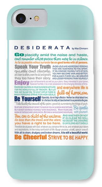Desiderata - Multi-color - Rectangular Format IPhone Case by Ginny Gaura