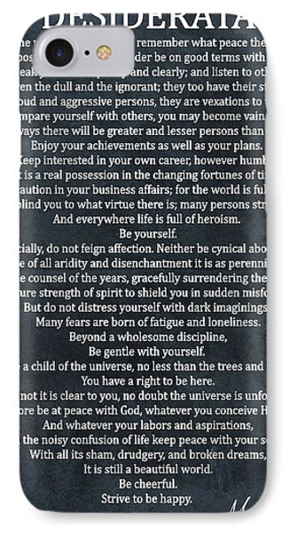 Desiderata Poem Cool Blue IPhone Case by Dan Sproul