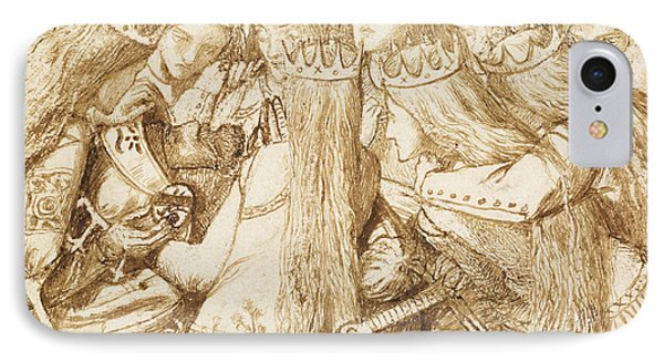 Design For Moxon's Tennyson - King Arthur And The Weeping Queens IPhone Case by Dante Gabriel Rossetti