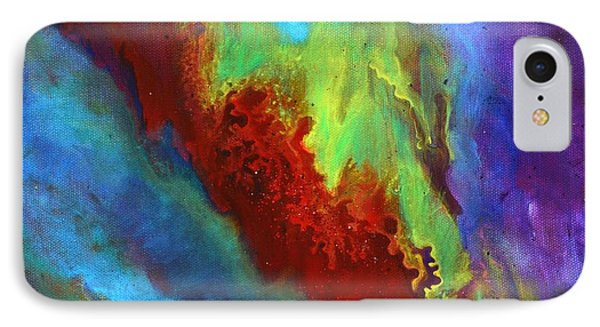 Desire A Vibrant Colorful Abstract Painting With A Glittering Center  IPhone Case