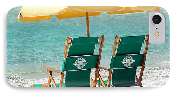 Destin Florida Beach Chairs And Yellow Umbrella Square Format IPhone Case by Shawn O'Brien
