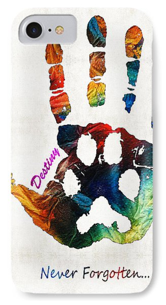 Custom Dog Memorial Rainbow Bridge Paw Print By Sharon Cummings IPhone Case by Sharon Cummings