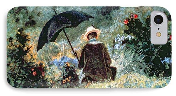 Detail Of A Gentleman Reading In A Garden IPhone Case by Carl Spitzweg