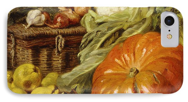 Detail Of A Still Life With A Basket, Pears, Onions, Cauliflowers, Cabbages, Garlic And A Pumpkin IPhone Case by Eugene Claude