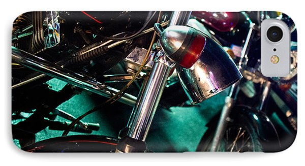 IPhone Case featuring the photograph Detail Of Chrome Headlamp On Vintage Style Motorcycle by Jason Rosette