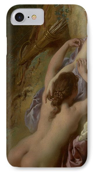 Detail Of Diana And Her Nymphs Bathing IPhone Case by Jean Francois de Troy